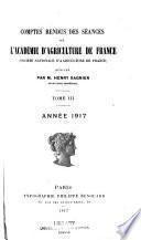 Comptes rendus des séances de l'Académie d'Agriculture de France