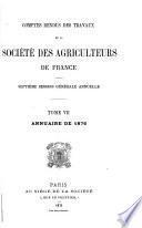 Comptes rendus des travaux de la Société des agriculteurs de France