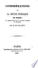 Considérations sur la dette publique de France