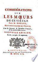 Considérations sur les moeurs de ce siècle par Charles Pinot Duclos
