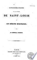 Considérations sur les ordres de Saint-Louis et du mérite militaire