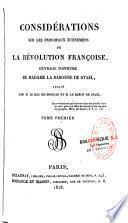 Considérations sur les principaux évènemens de la révolution françoise