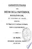Constitutions des Soeurs de la Providence de Ruillé sur Loir