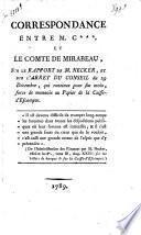 Correspondance entre M. C***. et le comte de Mirabeau