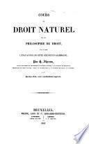 Cours de droit naturel ou de philosophie du droit