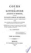 Cours de litterature ancienne et moderne
