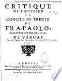 Critique de l'histoire du Concile de Trente de Fra Paolo par Frain du Tremblay