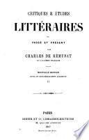 Critiques et études littéraires ou passé et présent