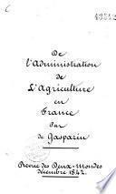 De l'administration de l'agriculture en France