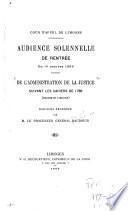 De l'administration de la justice suivant les cahiers de 1789 (Marche et Limousin) ...