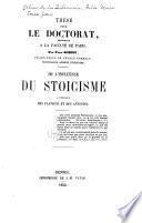 De l'influence du stoicisme à l'époque des Flaviens et des Antonins