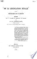 De la législation pénale de la république de St. Marino