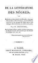 De la litterature des Nègres