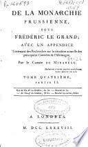 De la monarchie prussienne sous Frederic le Grand