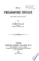 De la philosophie sociale