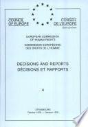 Décisions et rapports 4 Commission européenne des Droits de l'Homme (Octobre 1976)