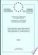 Décisions et rapports 89 A Commission européenne des Droits de l'Homme (mai 1997)