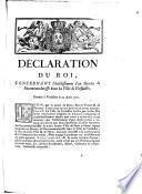 Déclaration du Roi, concernant l'établissement d'un Bureau de Recommandaresse dans la Ville de Versailles