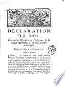 Déclaration du Roi, concernant les chirurgiens qui s'embarquent sur les navires marchands, & la visite du coffre de chirurgie