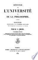 Défense de l'Université et de la philosophie