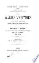 Des avaries maritimes considérées en elles-mêmes