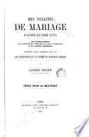 Des nullités de mariage d'aprés le Code civil