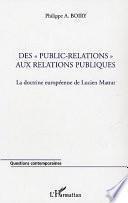 Des public-relations aux relations publiques
