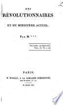 Des révolutionnaires et du ministère actuel