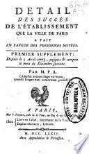 Detail des succès de l'établissement que la ville de Paris a fait en faveur des personnes noyées