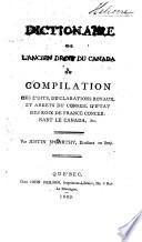 Dictionaire de l'ancien droit du Canada