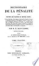 Dictionnaire de la pénalité dans toutes les parties du monde connu ...
