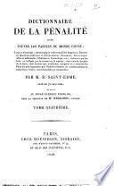 Dictionnaire de la pénalité dans toutes les parties du monde connu ... par M.B. Saint-Edme ... Tome premier -cinquième