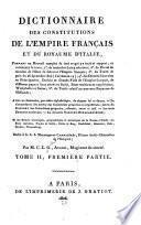 Dictionnaire des constitutions de l'Empire français et du royaume d'Italie