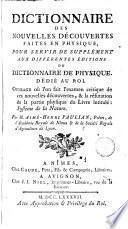 Dictionnaire des nouvelles découveretes faites en physique
