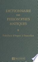 Dictionnaire des philosophes antiques (2) : Babélyca d'Argos à Dyscolius