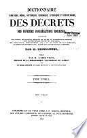 Dictionnaire dogmatique, moral, historique, canonique, liturgique et disciplinaire des décrets des diverses congrégations romaines ...