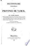 Dictionnaire géographique de la province de Namur