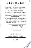 Discours à Madame la marquise C**** sur la vie et la mort de son fils, Alexis Louis-Eugène C****