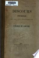Discours d'ouverture de M.M. les professeurs de l'Ecole du Louvre