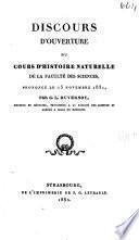 Discours d'ouverture du cours d'histoire naturelle de la Faculté des sciences, prononcé le 15 novembre 1831