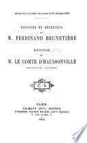 Discours de réception de M. Ferdinand Brunetière