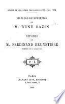 Discours de réception de M. René Bazin