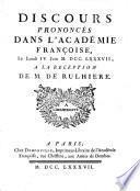 Discours prononcés dans l'Académie françoise