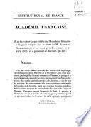 Discours prononcés dans la séance publique tenue par l'Académie française pour la réception de M. de Salvandy, le 21 avril 1836. [Discours du récipiendaire et réponse de P. Lebrun.]