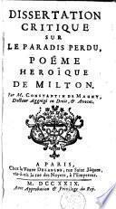 Dissertation critique sur le Paradis perdu, poëme heroïque de Milton