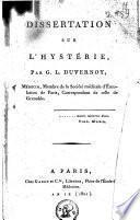 Dissertation sur l'hystérie