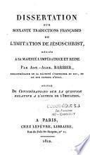 Dissertation sur soixante traductions française de l'imitation de Jésus-Christ