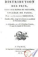 Distribution des prix, faite aux élèves du prytanée, collège de Paris ... le 26 thermidor, an X.