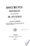 Documents historiques sur la province de Gévaudan