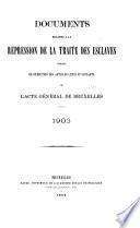 Documents relatifs à la répression de la traite des esclaves